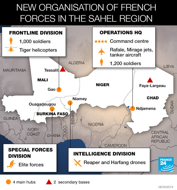 new organization of french forces in the sahel text and map by france 24